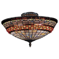 ELK Lighting Three Light Classic Bronze Bowl Semi-Flush Mount