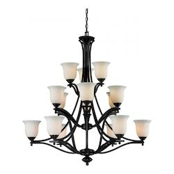 Z-Lite Fifteen Light Bronze Matte Opal Glass Up Chandelier
