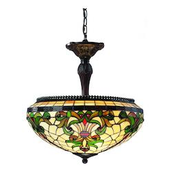 Z-Lite Three Light Chestnut Bronze Multi Color Tiffany Glass Up Pendant
