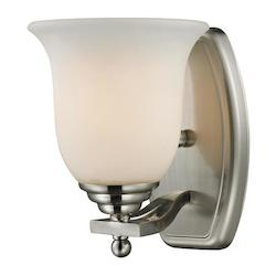 Z-Lite One Light Brushed Nickel Matte Opal Glass Bathroom Sconce