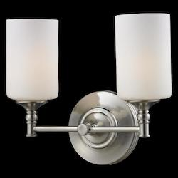 Z-Lite Two Light Satin Nickel Matte Opal Glass Vanity