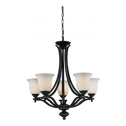 Z-Lite Five Light Matte Black Matte Opal Glass Up Chandelier
