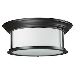 Z-Lite Three Light Bronze Matte Opal Glass Drum Shade Flush Mount