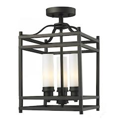 Z-Lite Three Light Bronze Matte Opal Glass Cage Semi-Flush Mount