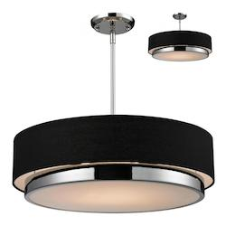 Z-Lite Three Light Chrome Black Shade Drum Shade Pendant