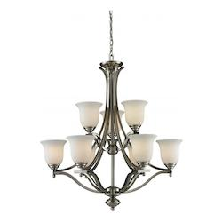 Z-Lite Nine Light Brushed Nickel Matte Opal Glass Up Chandelier