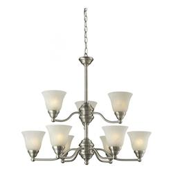 Z-Lite Nine Light Brushed Nickel White Swirl Glass Up Chandelier