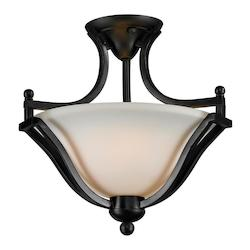 Z-Lite Two Light Bronze Matte Opal Glass Bowl Semi-Flush Mount