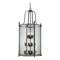 Z-Lite Twelve Light Bronze Clear Glass Foyer Hall Pendant