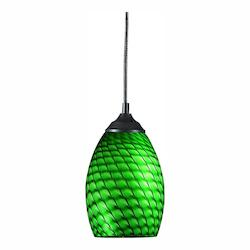 Z-Lite One Light Sand Black Green Glass Down Mini Pendant