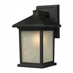 Z-Lite Open Box Black Holbrook 1 Light Outdoor Wall Sconce with White Seedy Shade