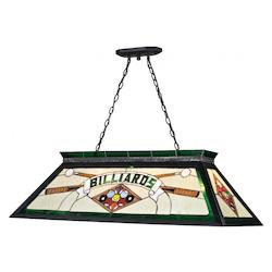 Z-Lite Four Light Matte Black Multi Colored Tiffany Glass Pool Table Light