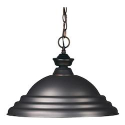 Z-Lite One Light Olde Bronze Stepped Olde Bronze Shade Down Pendant