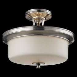Z-Lite Three Light Satin Nickel Matte Opal Glass Bowl Semi-Flush Mount