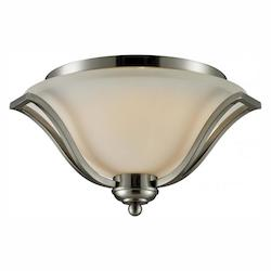 Z-Lite Three Light Brushed Nickel Matte Opal Glass Bowl Flush Mount