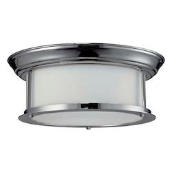 Z-Lite Two Light Chrome Matte Opal Glass Drum Shade Flush Mount