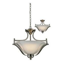 Z-Lite Three Light Brushed Nickel Matte Opal Glass Up Pendant