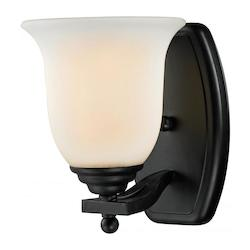Z-Lite One Light Bronze Matte Opal Glass Bathroom Sconce