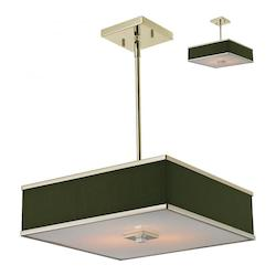 Z-Lite Brushed Nickel 3 Light Pendant With Black Fabric Square Shade