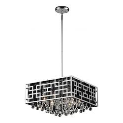 Z-Lite Chrome 6 Light 1 Tier Chandelier With Black Metal Square Shade