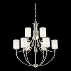 Z-Lite Nine Light Satin Nickel Matte Opal Glass Up Chandelier