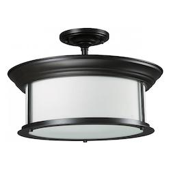 Z-Lite Three Light Bronze Matte Opal Glass Drum Shade Semi-Flush Mount