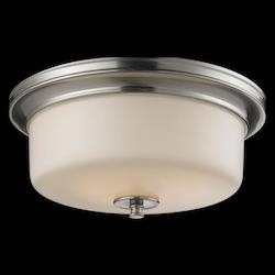 Z-Lite Three Light Satin Nickel Matte Opal Glass Bowl Flush Mount