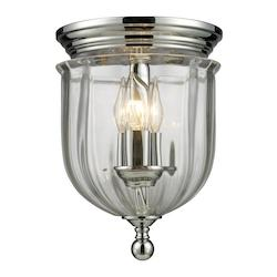 Z-Lite Chrome 3 Light Flush Mount Ceiling Fixture With Glass Urn Shade