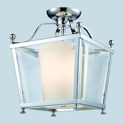 Z-Lite Three Light Chrome  Foyer Hall Semi-Flush Mount