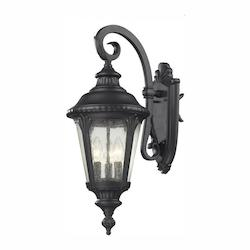 Z-Lite Three Light Black Clear Seedy Glass Wall Lantern