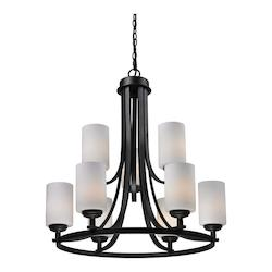 Z-Lite Nine Light Oil Rubbed Bronze Matte Opal Glass Up Chandelier