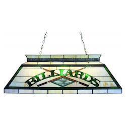 Z-Lite Four Light Antique Brass Multi Color Tiffany Glass Pool Table Light