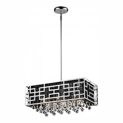 Z-Lite Six Light Chrome Black Shade Down Chandelier