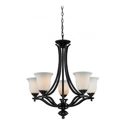 Z-Lite Five Light Bronze Matte Opal Glass Up Chandelier