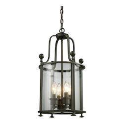 Z-Lite Four Light Bronze Clear Glass Foyer Hall Pendant