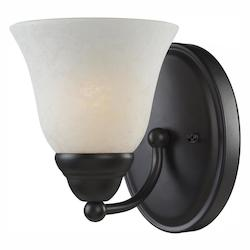Z-Lite One Light Bronze White Mottle Glass Bathroom Sconce