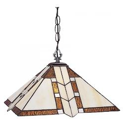 Z-Lite One Light Antique Brass Multi Color Tiffany Glass Down Pendant