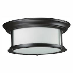 Z-Lite Two Light Bronze Matte Opal Glass Drum Shade Flush Mount