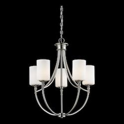 Z-Lite Five Light Satin Nickel Matte Opal Glass Up Chandelier
