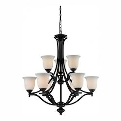 Z-Lite Nine Light Bronze Matte Opal Glass Up Chandelier