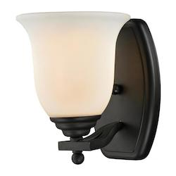 Z-Lite One Light Matte Black Matte Opal Glass Bathroom Sconce