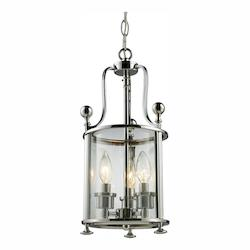 Z-Lite Three Light Chrome Clear Glass Foyer Hall Pendant