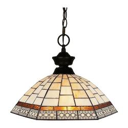 Z-Lite One Light Bronze Multi Colored Tiffany Glass Down Pendant