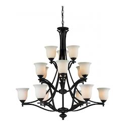 Z-Lite Fifteen Light Matte Black Matte Opal Glass Up Chandelier