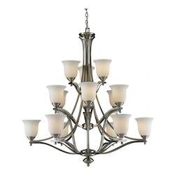Z-Lite Fifteen Light Brushed Nickel Matte Opal Glass Up Chandelier