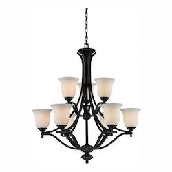 Z-Lite Nine Light Matte Black Matte Opal Glass Up Chandelier