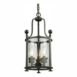 Z-Lite Three Light Bronze Clear Glass Foyer Hall Pendant
