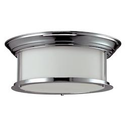 Z-Lite Three Light Chrome Matte Opal Glass Drum Shade Flush Mount