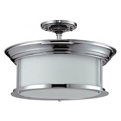 Z-Lite Three Light Chrome Matte Opal Glass Drum Shade Semi-Flush Mount