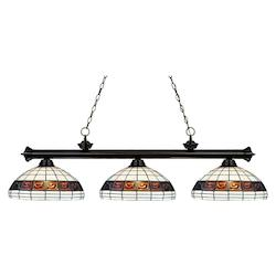 Z-Lite Three Light Bronze Multi Color Tiffany Glass Pool Table Light